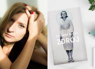 Kobieta podpierająca głowę na dłoni i okładka ksiązki Zdroj