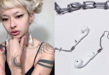 Dziewczyna z kolczykami z dopiętymi słuchawkami