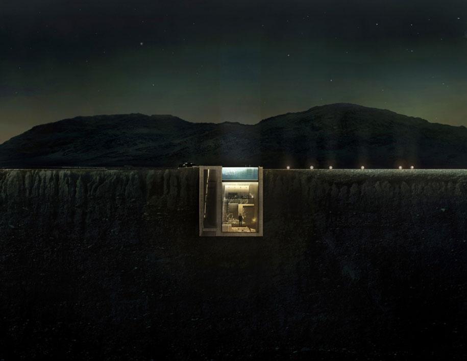 Mieszkanie na klifie nocą