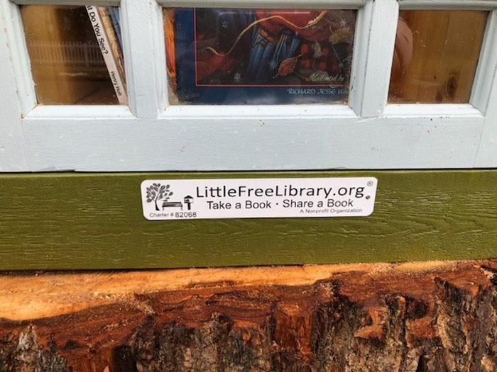 Biblioteczka z książkami w pniu drzewa