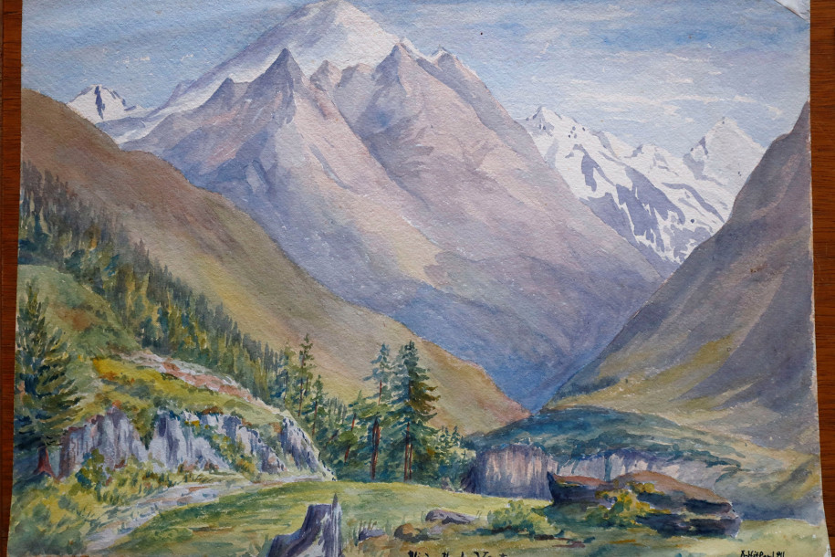 Obraz przdstawiający górski widok