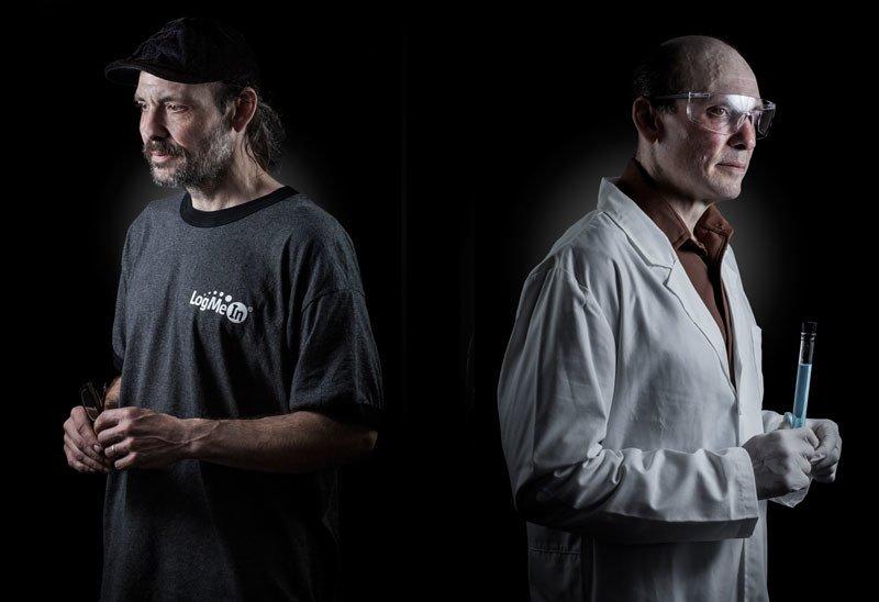 Dwa ujęcia tego samego mężczyzny: jako bezdomnego i naukowca