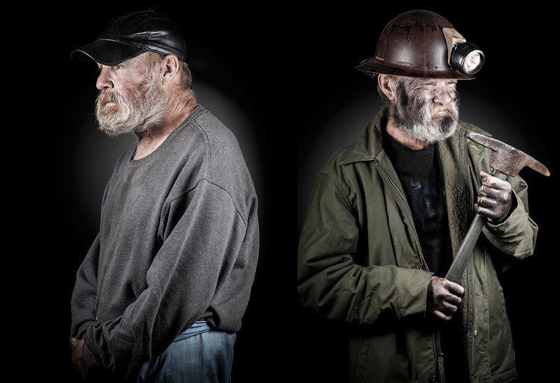 Dwa ujęcia tego samego mężczyzny: jako bezdomnego i górnika