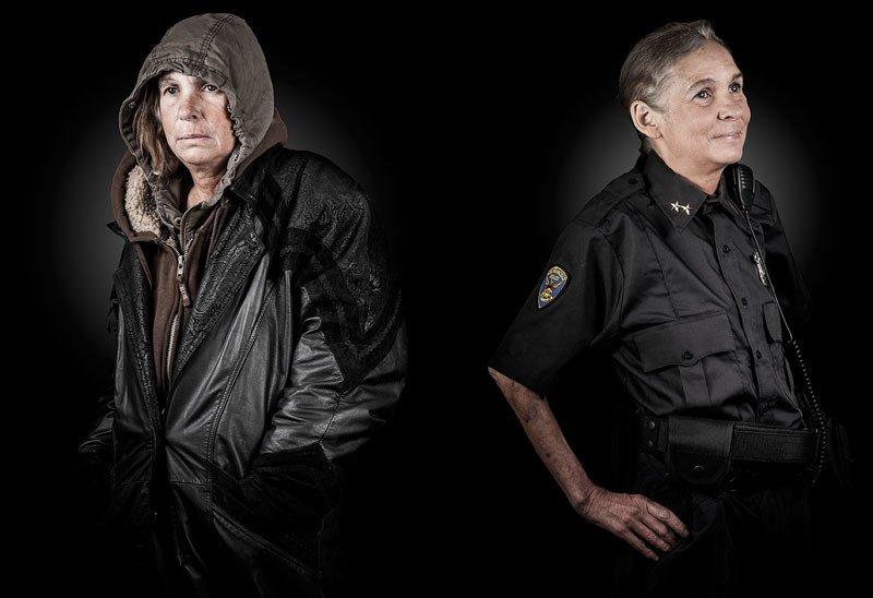 Dwa ujęcia tego samego mężczyzny: jako bezdomnego i policjantki