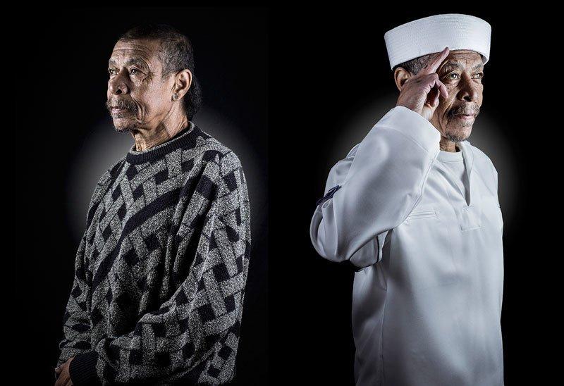 Dwa ujęcia tego samego mężczyzny: jako bezdomnego i kapitana statku