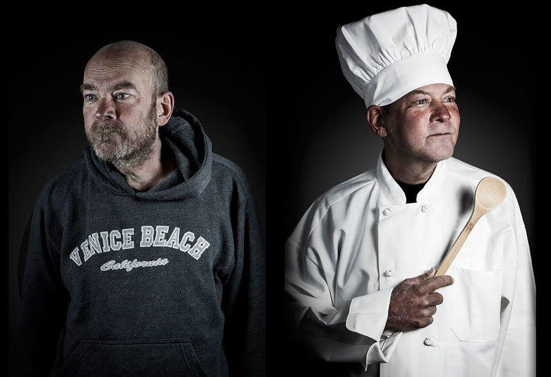 Dwa ujęcia tego samego mężczyzny: jako bezdomnego i kucharza