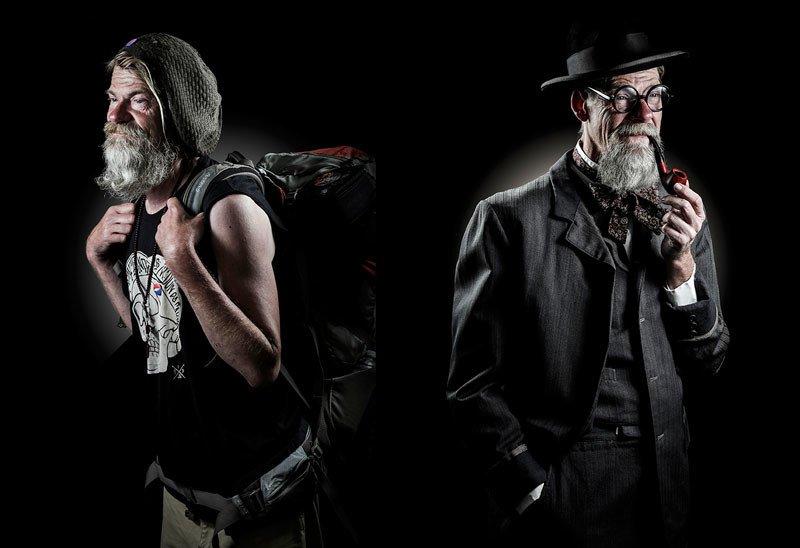 Dwa ujęcia tego samego mężczyzny: jako bezdomnego i detektywa