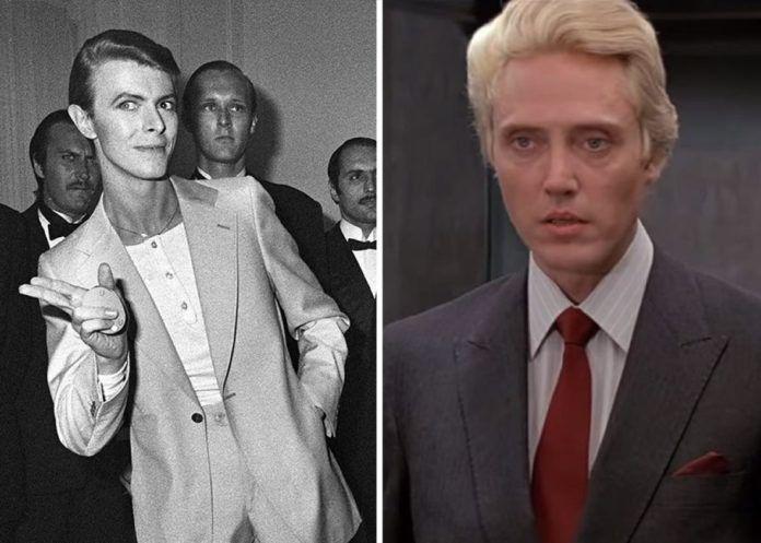 Czarno-białe zdjęcie mężczyzny w garniturze i kolorowe zdjęcie mężczyzny z blond włosami w garniturze