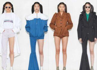 Cztery modelki mające na sobie spodnie z asymetrycznymi nogawkami - jedną długą, a drugą krótką