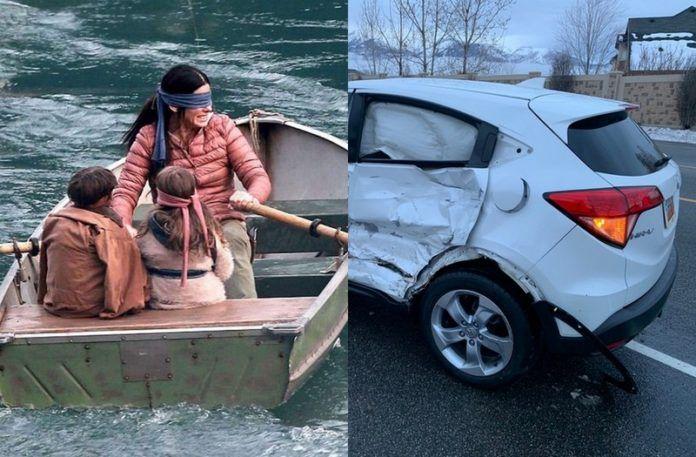 Rozbity samochód i kadr z Bird Box