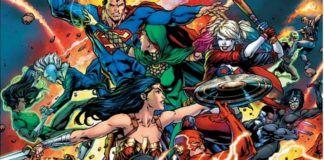 Kadr z komiksu DC Comics z superbohaterami