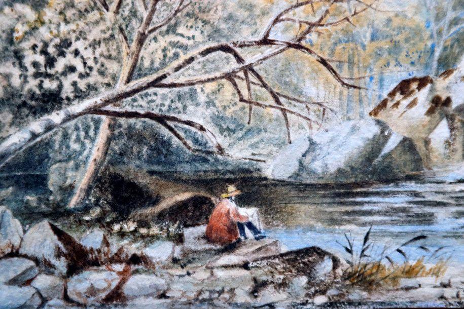 Obraz przedstawiający mężczyzne nad rzeką