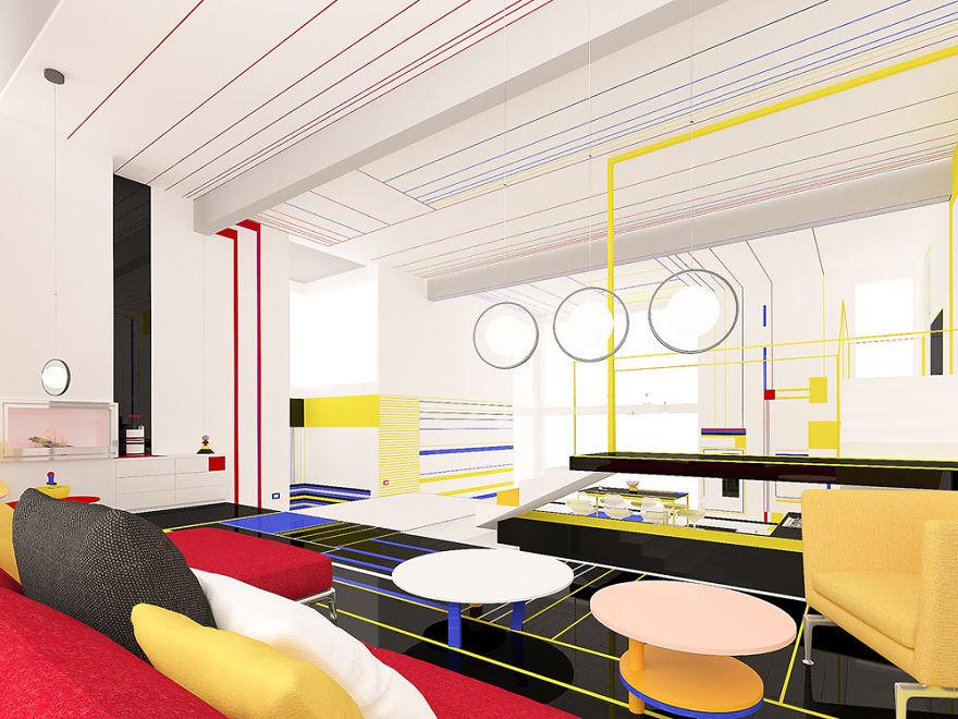 Mieszkanie inspirowane twórczością Pieta Mondariana