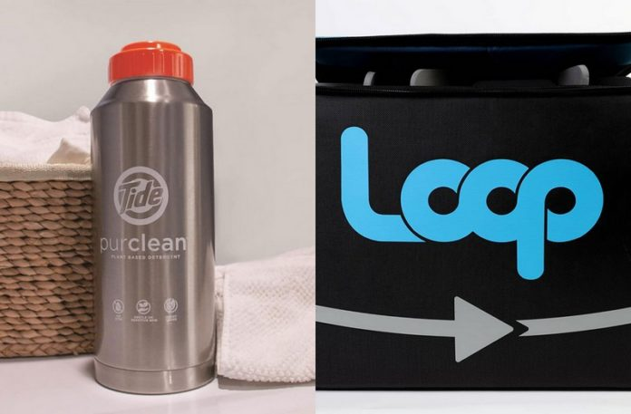 Metalowa butelka i torba z logo loop