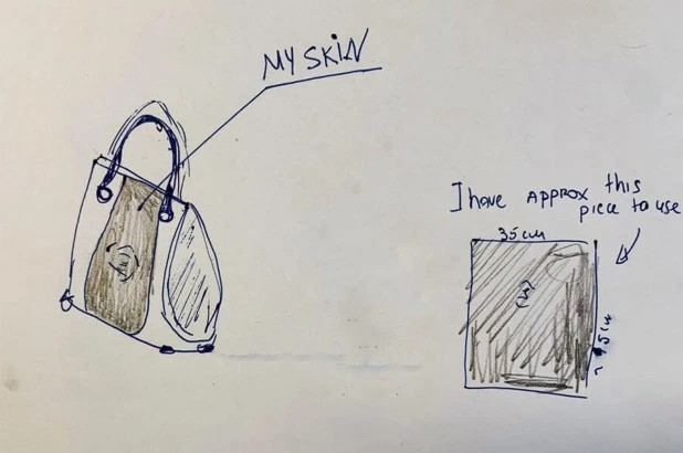 Projekt torebki narysowany na kartce