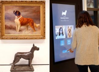 Rzeźba psa i kobieta stojąca przy interaktywnym kiosku