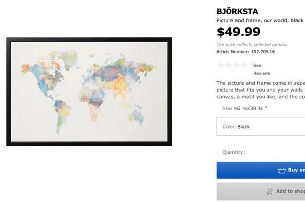 Zrzut ekranu obrazu z IKEA