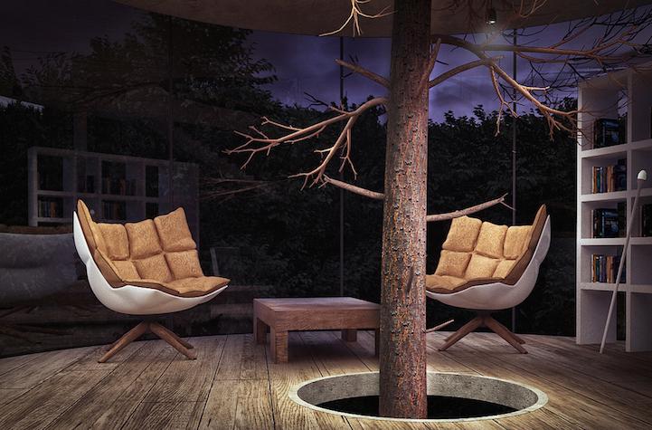 Dwa fotele i pień drzewa
