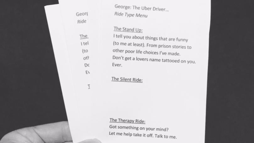 Kartka z menu rozmów