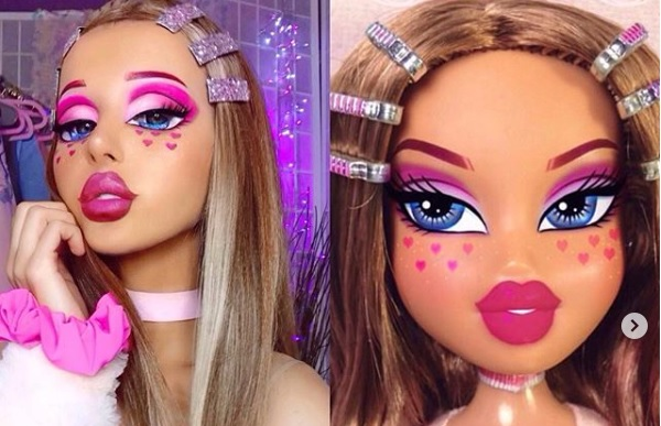 Dziewczyna i lalka z tym samym makijażem