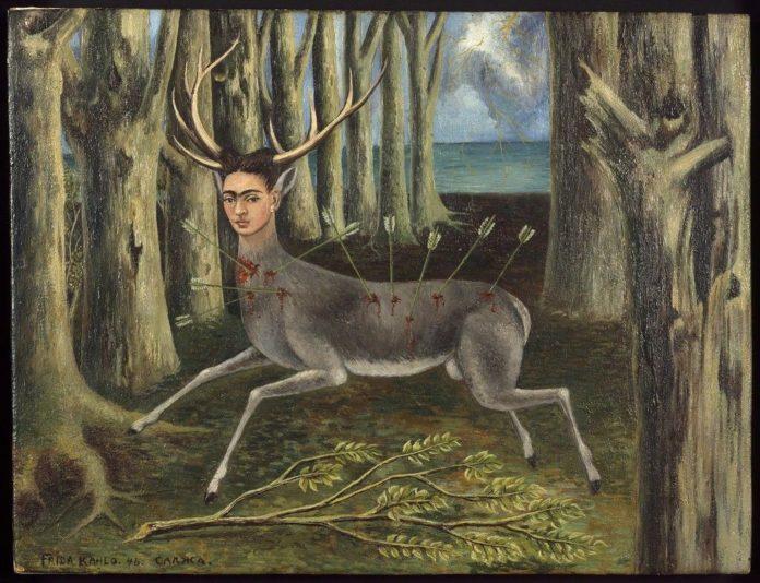Obraz zranionego jelenia z twarzą Fridy Kahlo