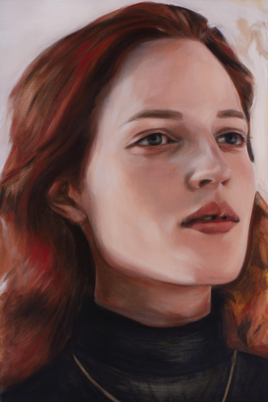 Obraz przedstawia mloda rudowlosa kobiete