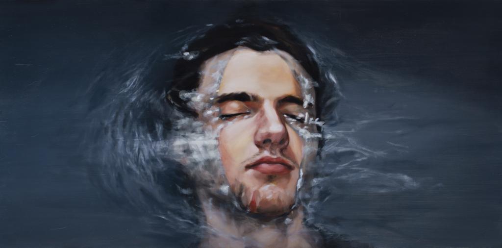 obraz przedstawia mlodego mezyczyzne w wodzie