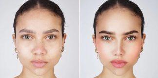 Zdjęcie kobiety przed retuszem i po