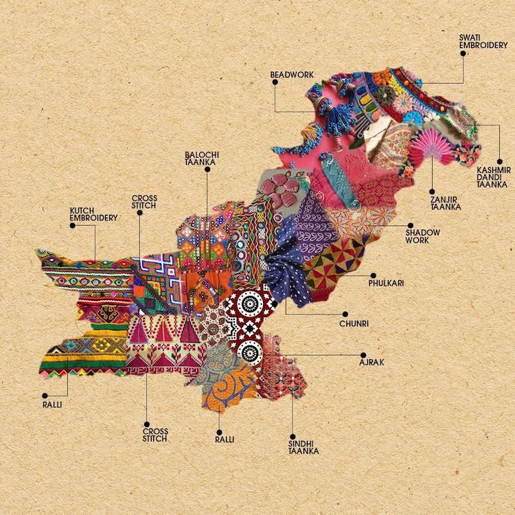 Mapa Indii z tkaninami