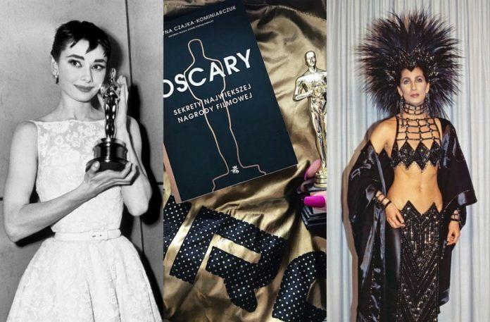Dwie kobiety w wieczorowych strojach i okładka książki Oscary