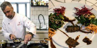 Mężczyzna przy kuchni i talerz z jedzeniem