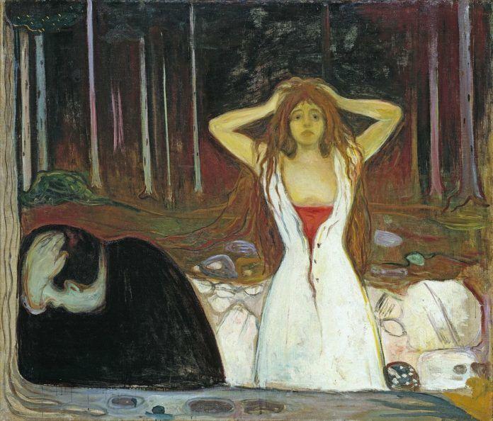 Obraz kobiet twrzymającej się za głowę. ubranej na biało