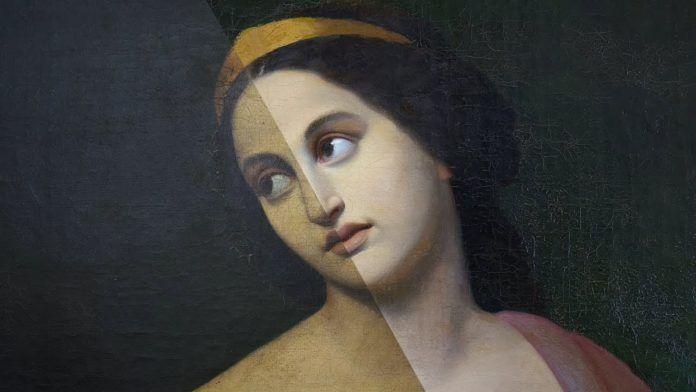 Obraz ciemnowłosej kobiety patrzącej w dal