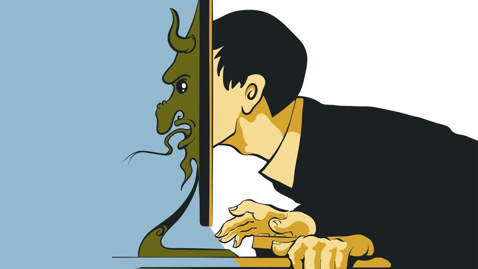 ilustracja przedstawia mezczyzne z glowa przy monitorze z drugiej strony monitora widzimy glowe diabla