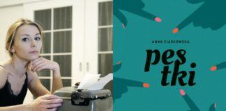Dziewczyna siedząca nad maszyną i okładka książki Pestki