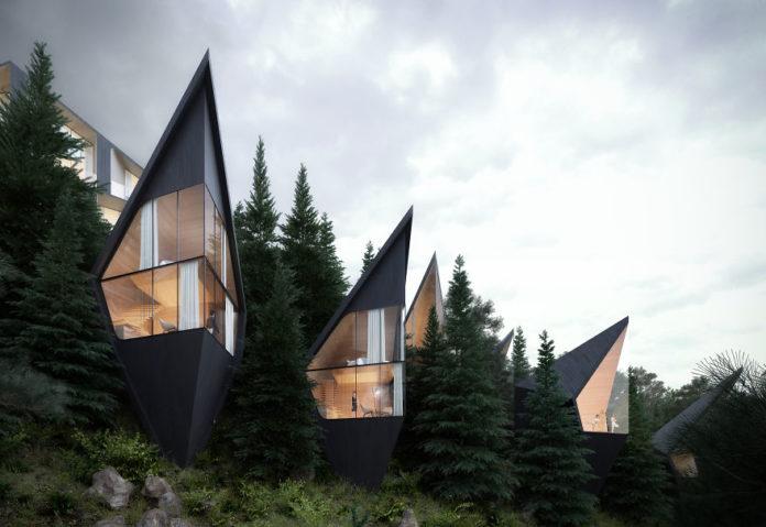 Geometryczne domy w środku lasu