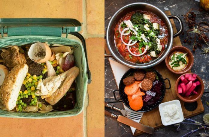Jedzenie w śmietniku, obok jedzenie na desce