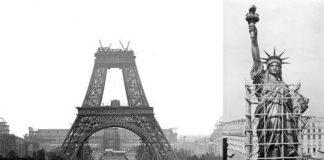 Wieża Eiffela w trakcie budowy i statua wolności