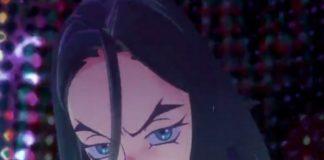 Animowana postać dziewczyny w ciemnych włosach z niebieskimi oczami