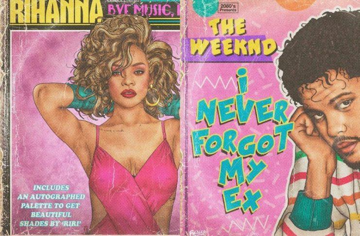 Dwie okładki płyt stylizowane na lata 80.