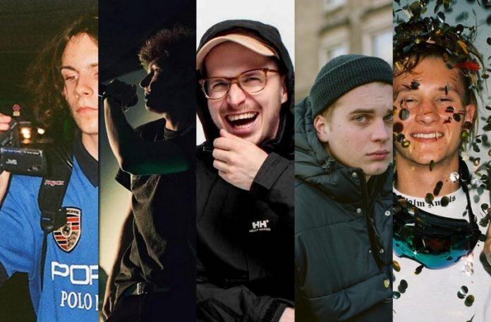 Pięć fotografii przedstawiających meżczyzn