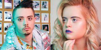 Chłopak w srebrnej kurtce i dziewczyna z blond włosami i fioletowymi ustami