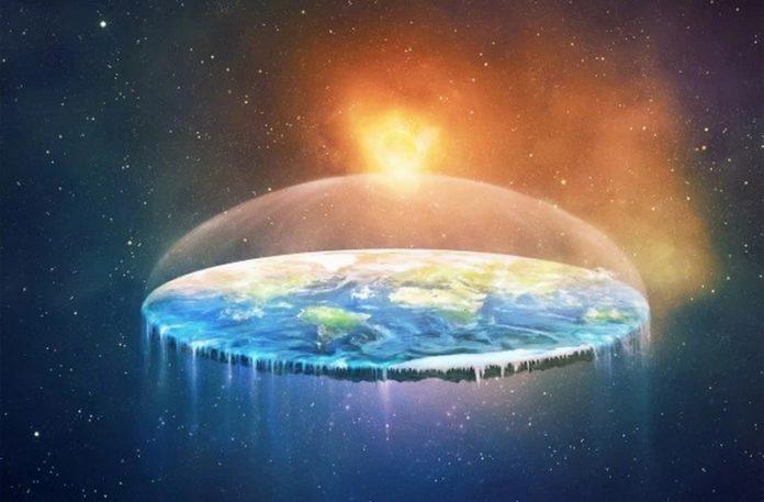 Wizualizacja przedstawiająca płaską ziemię