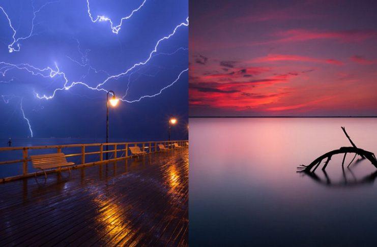 Burza na morzu i morze przy zachodzie słońca