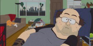 Animowana postać grubego mężczyzny przy komputerze