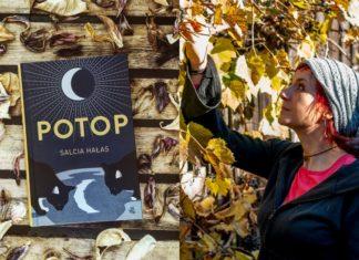 Książka leżąca na drewnianych deskach wśród luści i kobieta sięgająca do gałązki drzewa