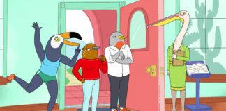 Kadr z serialu animowane przedstawiajacy cztery ptaki przebrane za ludzi