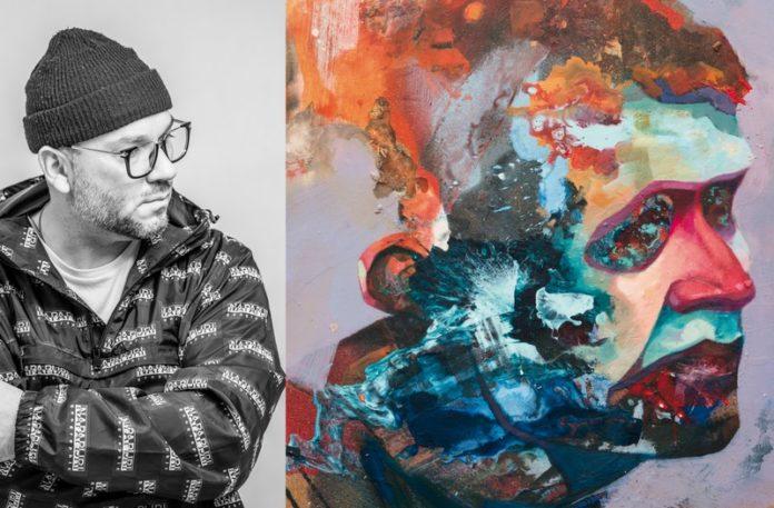 Czarno-białe zdjęcie mężczyzny i okładka albumu