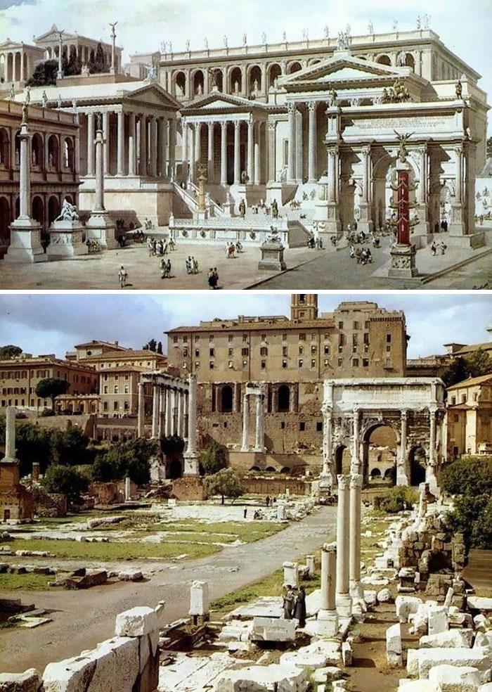 To samo miejsce w Rzymie 2000 lat temu i dzisiaj