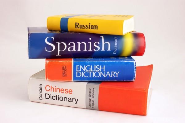 Słowniki ułożone w stos na białym tle